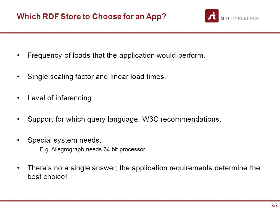 36 Which RDF Store to Choose for an App. Frequency of loads that the application would perform.
