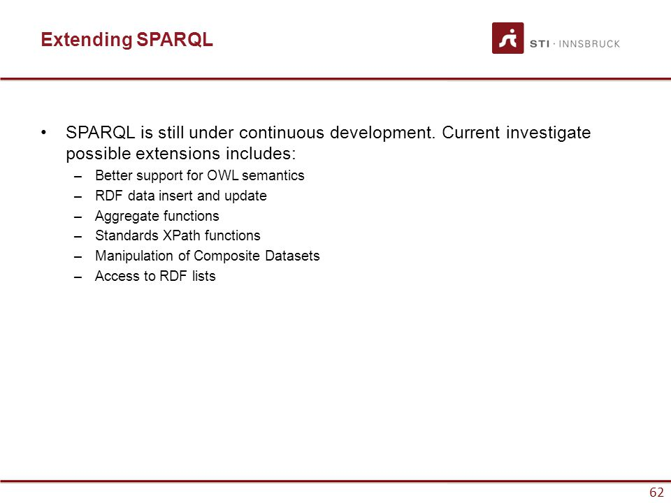 62 Extending SPARQL SPARQL is still under continuous development.