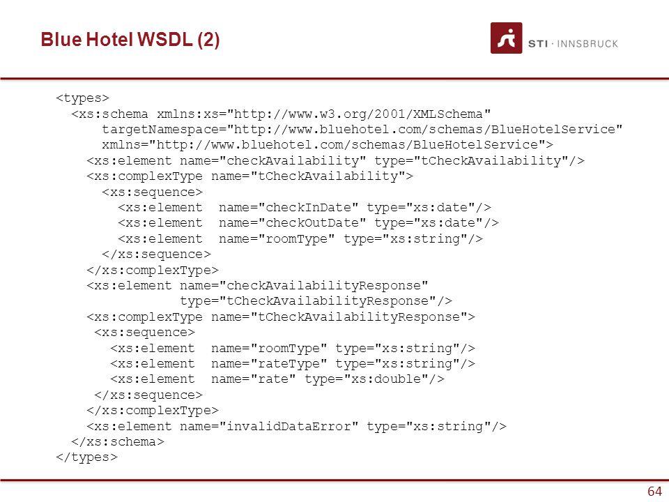64 Blue Hotel WSDL (2) <xs:schema xmlns:xs= http://www.w3.org/2001/XMLSchema targetNamespace= http://www.bluehotel.com/schemas/BlueHotelService xmlns= http://www.bluehotel.com/schemas/BlueHotelService > <xs:element name= checkAvailabilityResponse type= tCheckAvailabilityResponse />