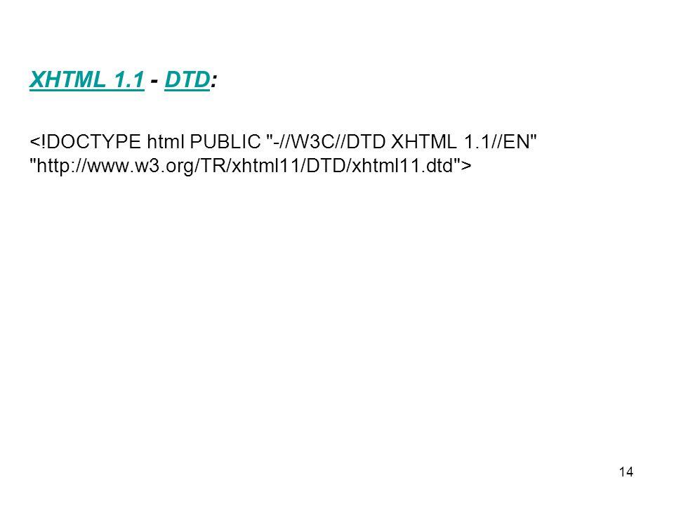 14 XHTML 1.1XHTML 1.1 - DTD:DTD