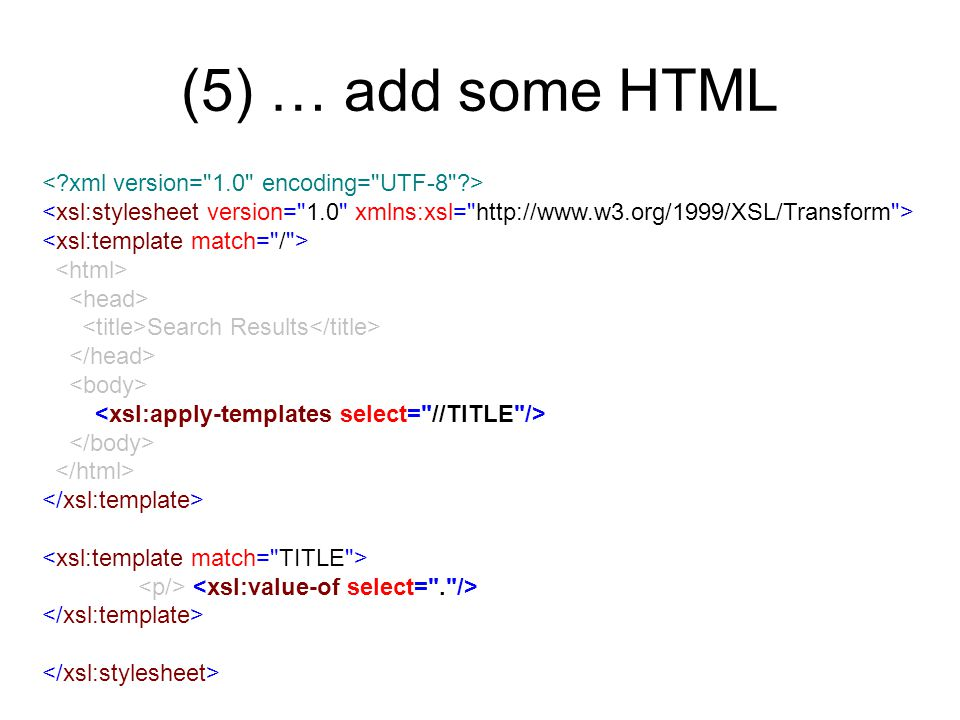 (5) … add some HTML Search Results