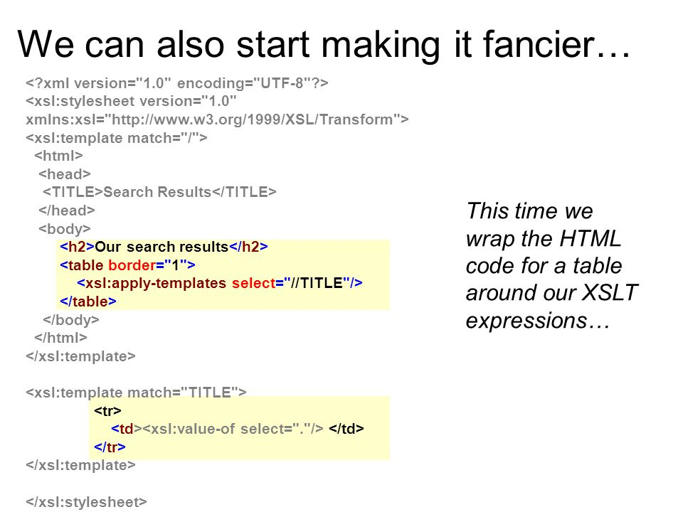 We can also start making it fancier… Search Results Our search results This time we wrap the HTML code for a table around our XSLT expressions…