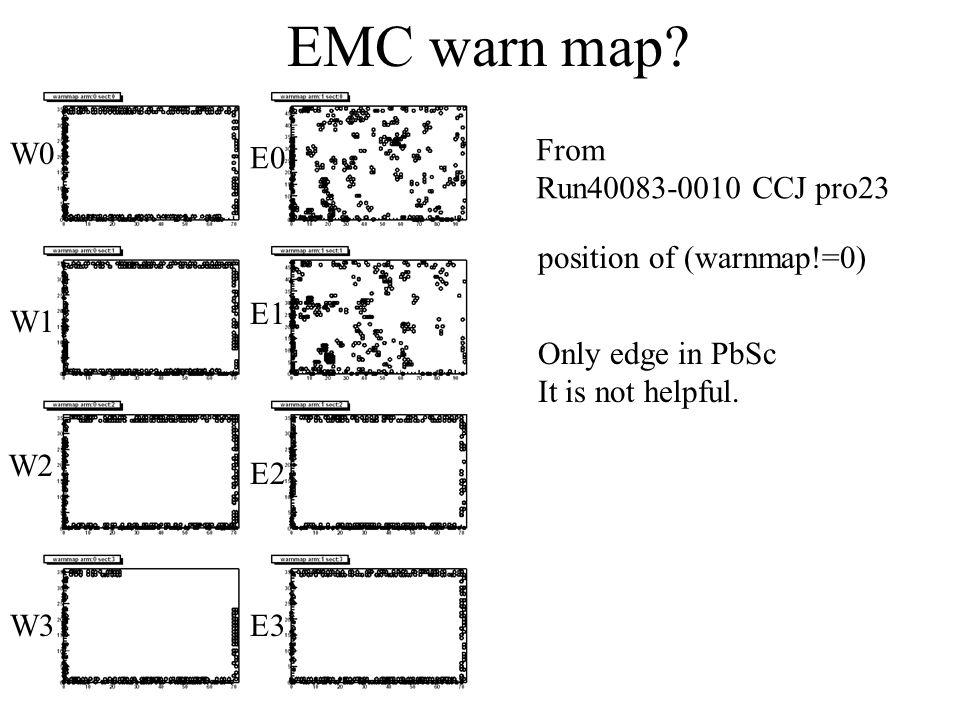 EMC warn map? W0 W1 W2 W3 E0 E1 E2 E3 From Run40083-0010 CCJ pro23 position of (warnmap!=0) Only edge in PbSc It is not helpful.