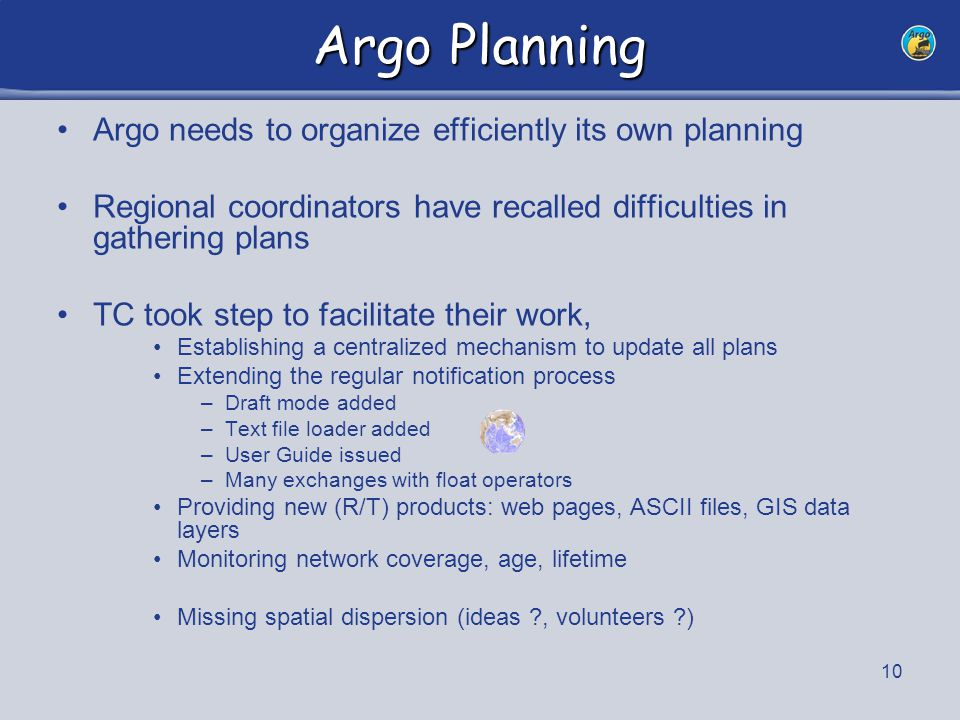 10 Argo Planning Argo needs to organize efficiently its own planning Regional coordinators have recalled difficulties in gathering plans TC took step