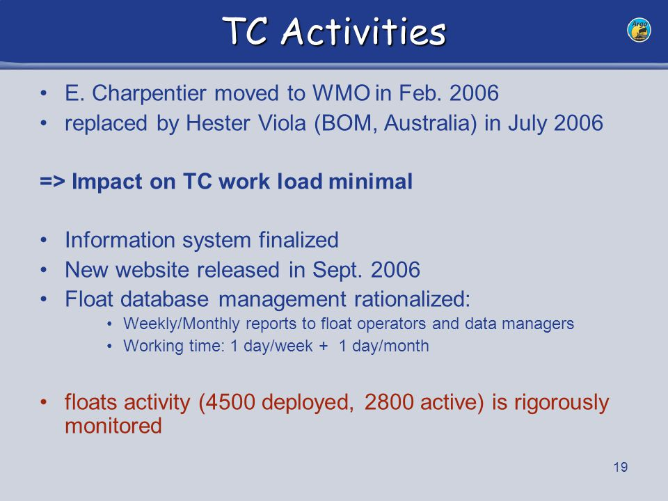 19 TC Activities E. Charpentier moved to WMO in Feb. 2006 replaced by Hester Viola (BOM, Australia) in July 2006 => Impact on TC work load minimal Inf