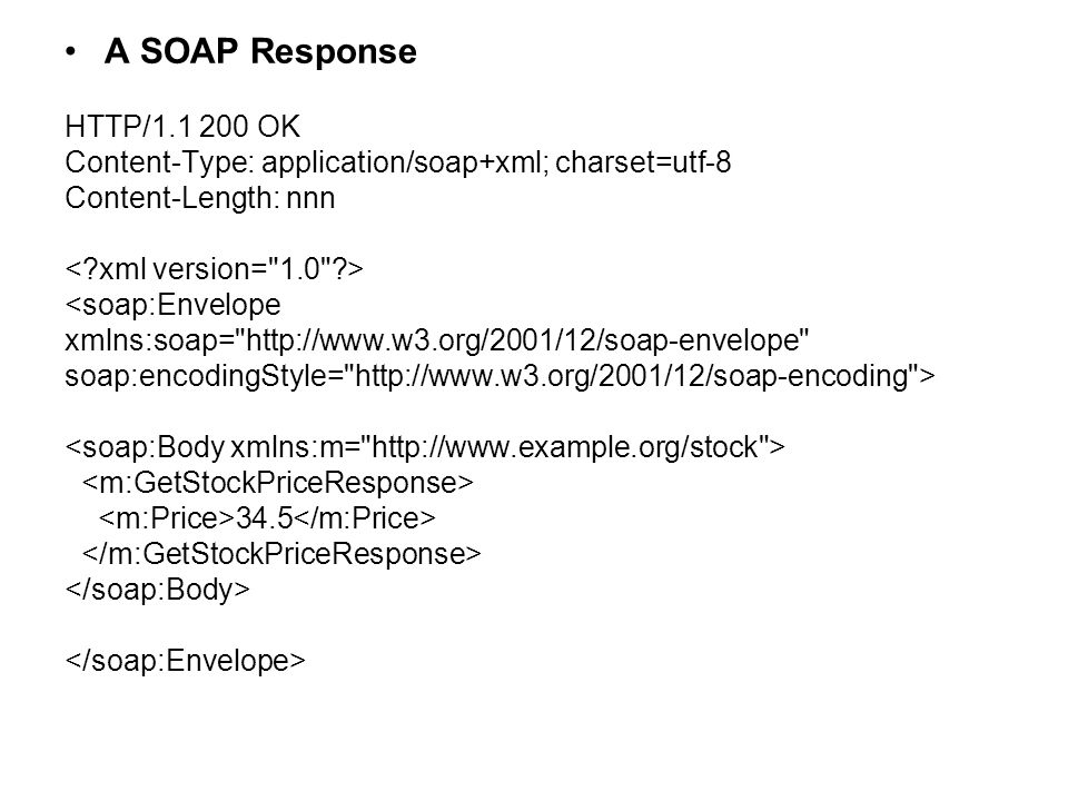A SOAP Response HTTP/1.1 200 OK Content-Type: application/soap+xml; charset=utf-8 Content-Length: nnn <soap:Envelope xmlns:soap= http://www.w3.org/2001/12/soap-envelope soap:encodingStyle= http://www.w3.org/2001/12/soap-encoding > 34.5