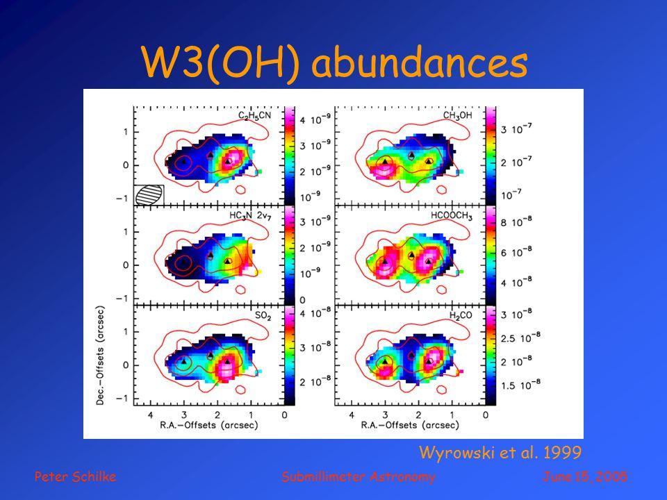 Peter Schilke Submillimeter Astronomy June 15, 2005 W3(OH) abundances Wyrowski et al. 1999