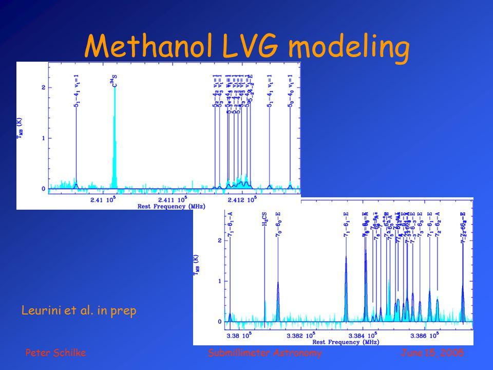 Peter Schilke Submillimeter Astronomy June 15, 2005 Methanol LVG modeling Leurini et al. in prep