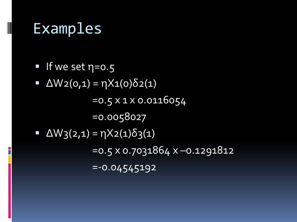 Examples  If we set η=0.5  ΔW2(0,1) = ηX1(0)δ2(1) =0.5 x 1 x 0.0116054 =0.0058027  ΔW3(2,1) = ηX2(1)δ3(1) =0.5 x 0.7031864 x –0.1291812 =-0.04545192
