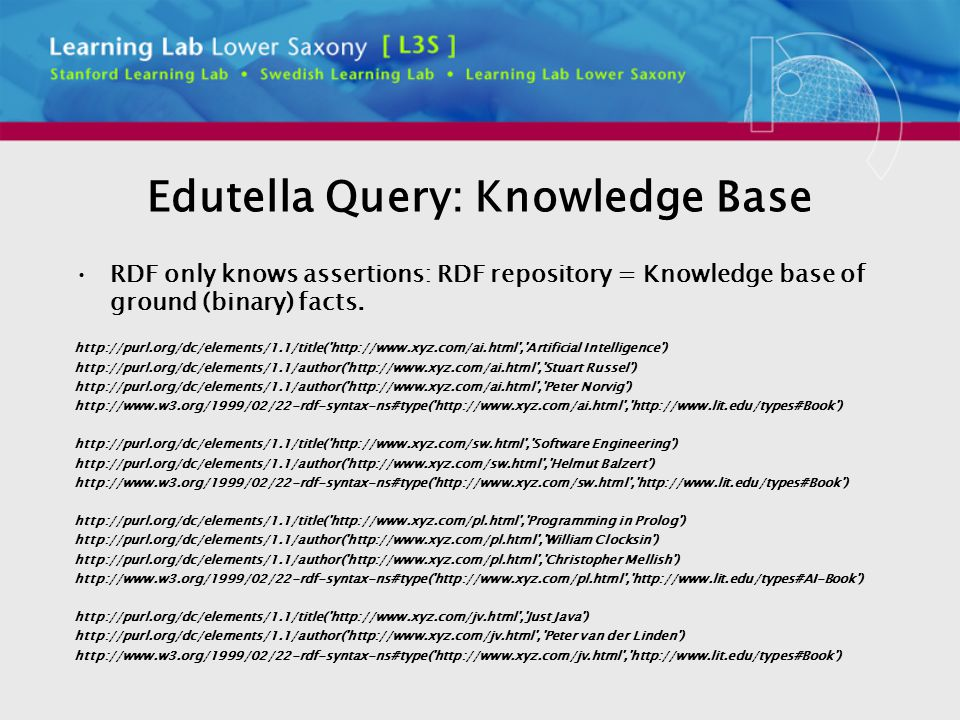 Edutella Query: Knowledge Base RDF only knows assertions: RDF repository = Knowledge base of ground (binary) facts.