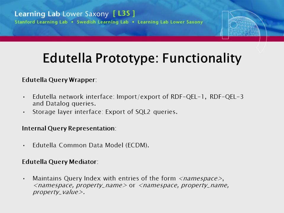 Edutella Prototype: Functionality Edutella Query Wrapper: Edutella network interface: Import/export of RDF-QEL-1, RDF-QEL-3 and Datalog queries.