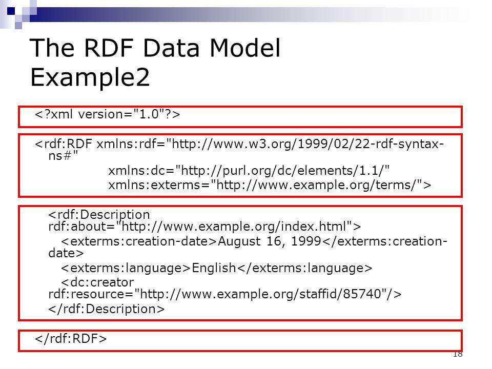 18 The RDF Data Model Example2 <rdf:RDF xmlns:rdf=