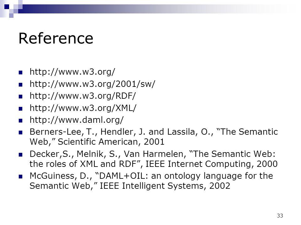 33 Reference http://www.w3.org/ http://www.w3.org/2001/sw/ http://www.w3.org/RDF/ http://www.w3.org/XML/ http://www.daml.org/ Berners-Lee, T., Hendler