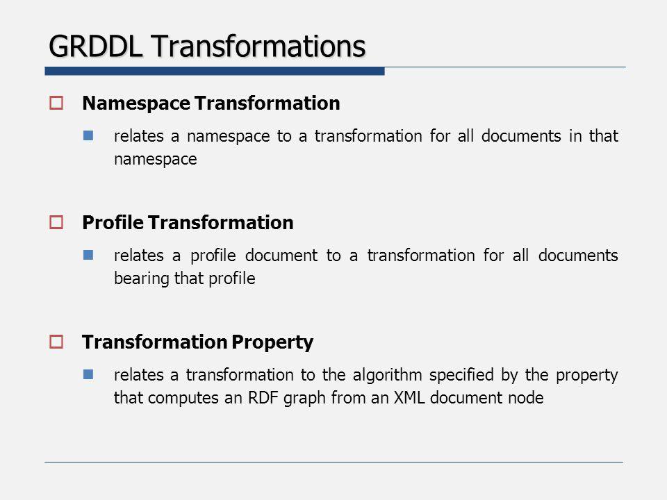 GRDDL Transformations  Single transformation of HTML data to RDF  Multiple transformations