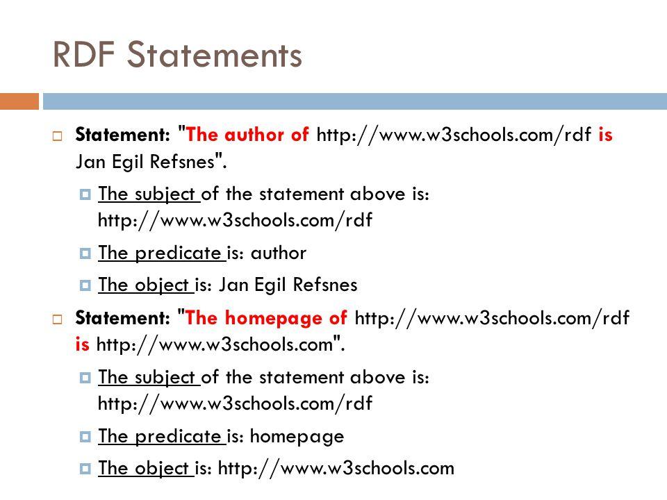 RDF Statements  Statement: The author of http://www.w3schools.com/rdf is Jan Egil Refsnes .