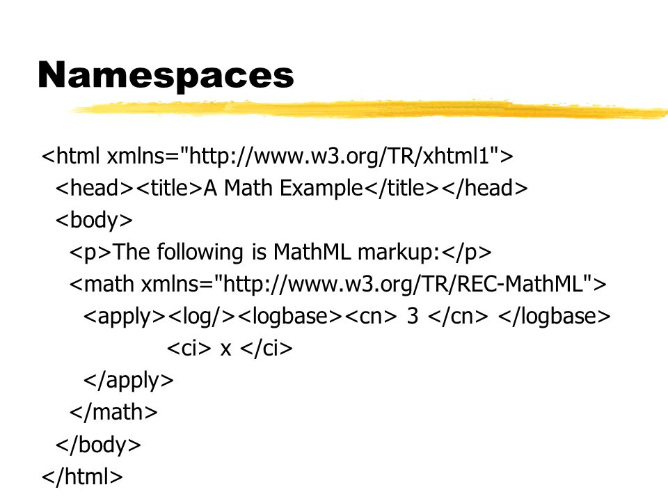 Namespaces A Math Example The following is MathML markup: 3 x