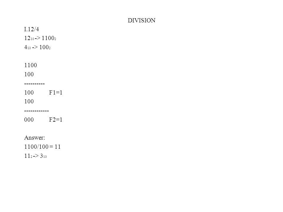 DIVISION I.12/4 12 10 -> 1100 2 4 10 -> 100 2 1100 100 ---------- 100 F1=1 100 ------------ 000 F2=1 Answer: 1100/100 = 11 11 2 -> 3 10
