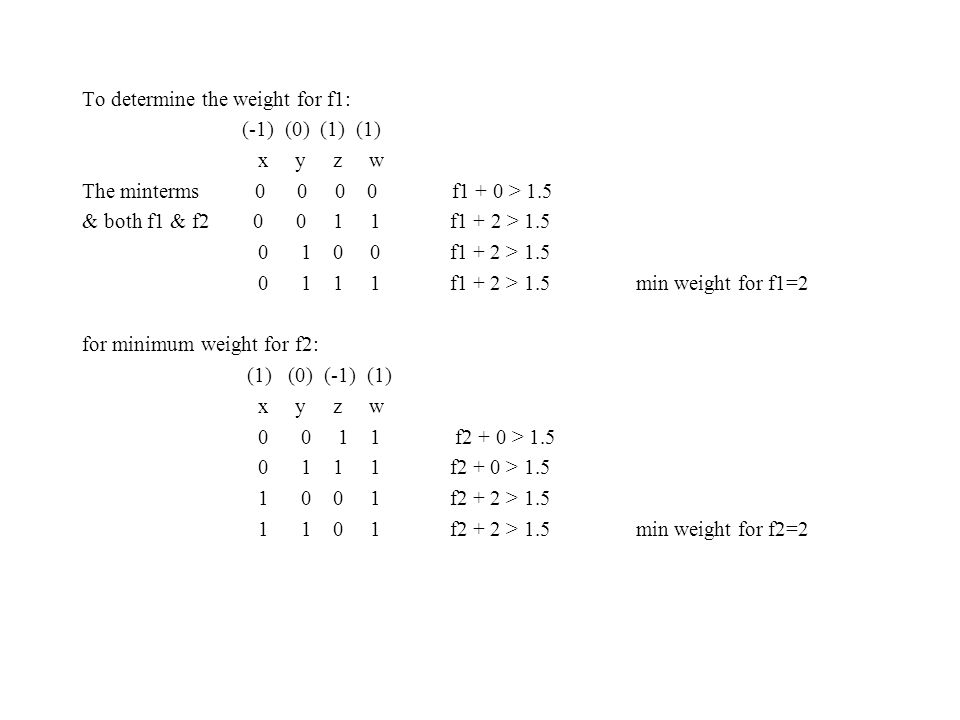 To determine the weight for f1: (-1) (0) (1) (1) x y z w The minterms 0 0 0 0 f1 + 0 > 1.5 & both f1 & f2 0 0 1 1 f1 + 2 > 1.5 0 1 0 0 f1 + 2 > 1.5 0
