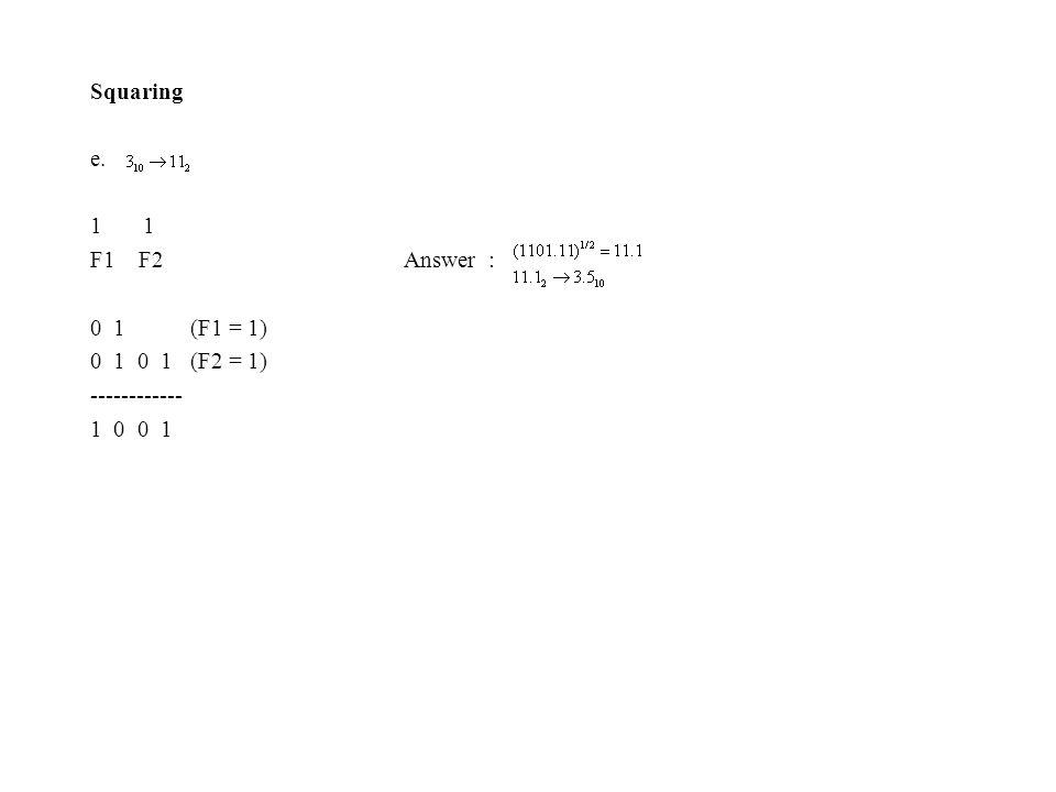 Squaring e. 1 F1 F2 Answer : 0 1 (F1 = 1) 0 1 0 1 (F2 = 1) ------------ 1 0 0 1