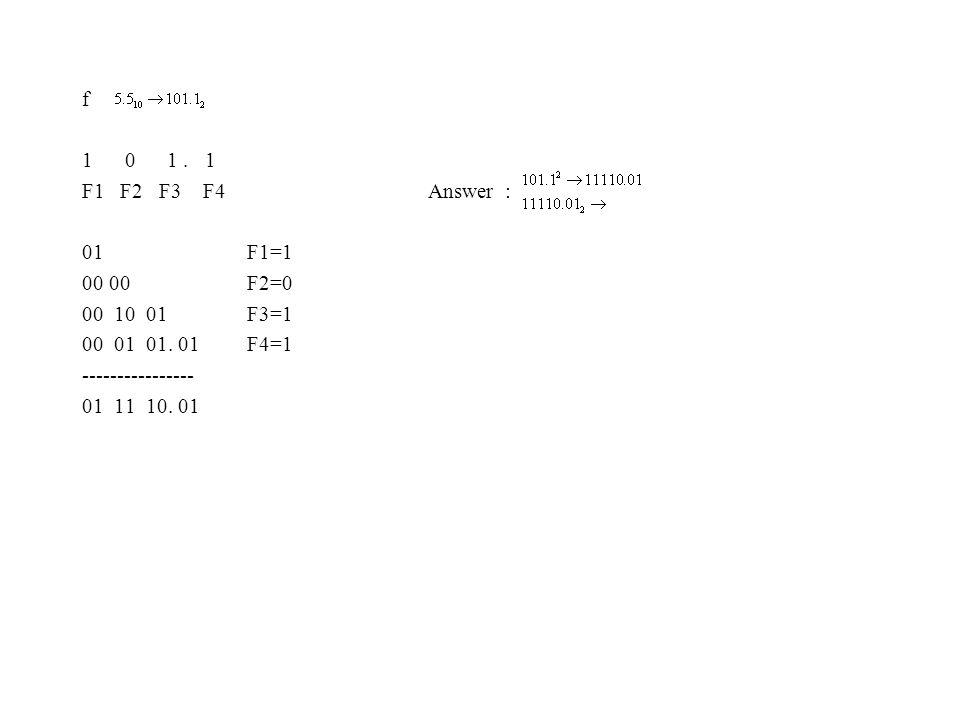 f 1 0 1. 1 F1 F2 F3 F4 Answer : 01 F1=1 00 00 F2=0 00 10 01 F3=1 00 01 01.