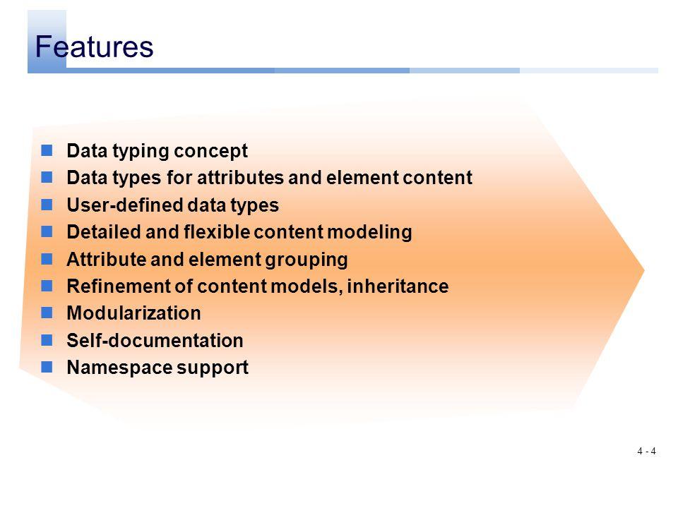 4 - 3 Validation DTD XML Schema (W3C) Content Model Validation Datatype Validation XML Schema Part 1: Structures XML Schema Part 2: Datatypes Content