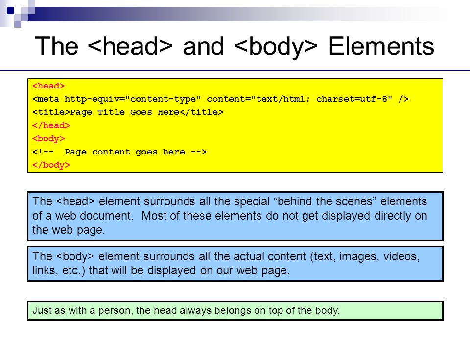 The and Elements Just as with a person, the head always belongs on top of the body.