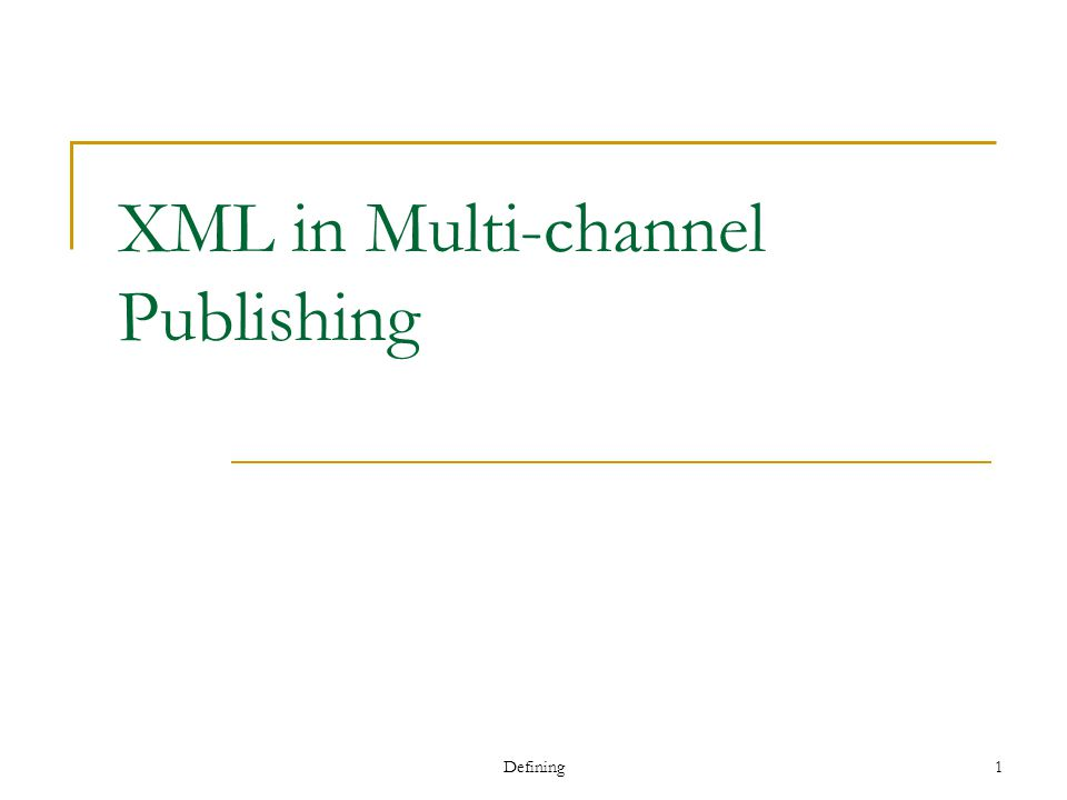 Defining 12 XML Publishing in Practice: Varying Contents and Presentations content A program.xml content B program.xml Stylesheetprogram.xsl Stylesheet A program.xsl Stylesheet B program.xsl content A program.xml content C program.xml
