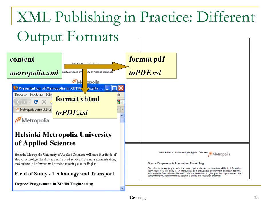 Defining 13 XML Publishing in Practice: Different Output Formats contentmetropolia.xml format pdf toPDF.xsl format xhtml toPDF.xsl
