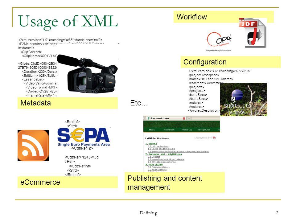 Defining 2 Usage of XML 0001V1 060A2B340101010501010D43130000006DE8A 27B794905D1008045822CE2045F 230 1/25 MXF DV25_420 50i 09:10:28:22 DB0F502F 16:9 Metadata HelTechXML Configuration SCOR 1245 eCommerce Publishing and content management Etc… Workflow