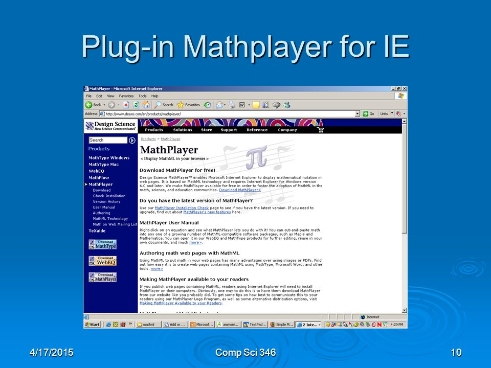 4/17/2015Comp Sci Plug-in Mathplayer for IE