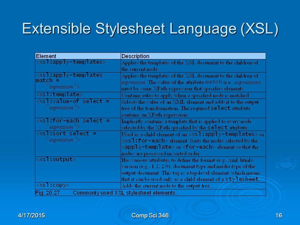 4/17/2015Comp Sci 34616 Extensible Stylesheet Language (XSL)