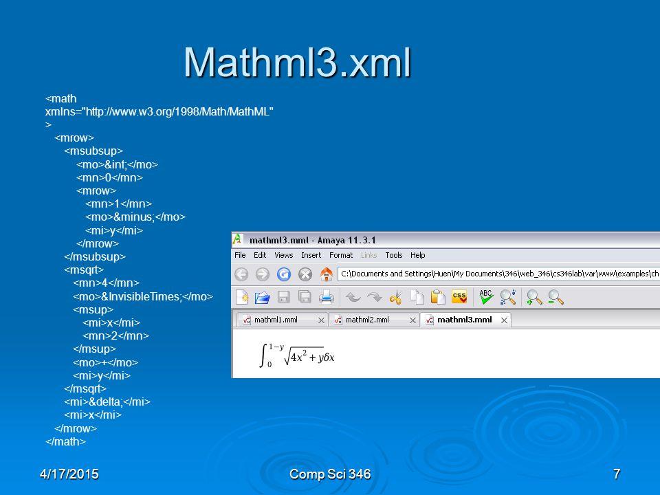 4/17/2015Comp Sci 3467 Mathml3.xml ∫ 0 1 − y 4  x 2 + y δ x