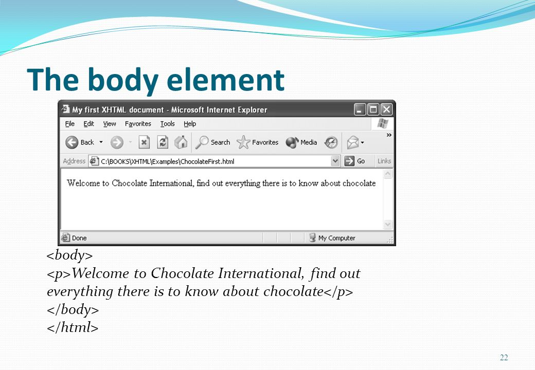 22 The body element Welcome to Chocolate International, find out everything there is to know about chocolate