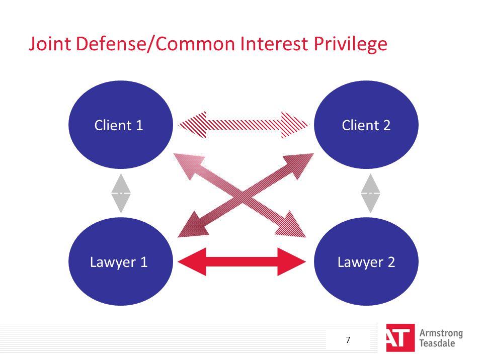 Joint Defense/Common Interest Privilege Client 1Client 2 Lawyer 1Lawyer 2 7