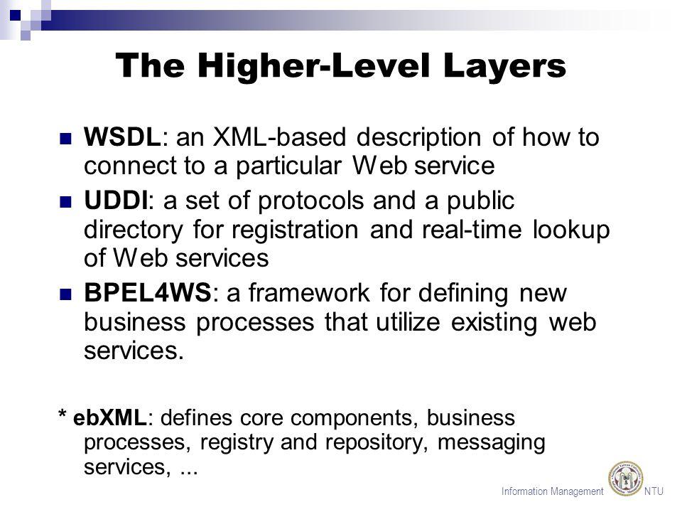 Information Management NTU The JAX* Suite JAXR (Java API for XML Registries): to look up the business partner s web service.