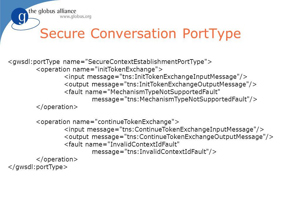 Secure Conversation PortType <fault name= MechanismTypeNotSupportedFault message= tns:MechanismTypeNotSupportedFault /> <fault name= InvalidContextIdFault message= tns:InvalidContextIdFault />