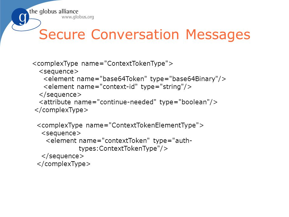 Secure Conversation Messages <element name= contextToken type= auth- types:ContextTokenType />