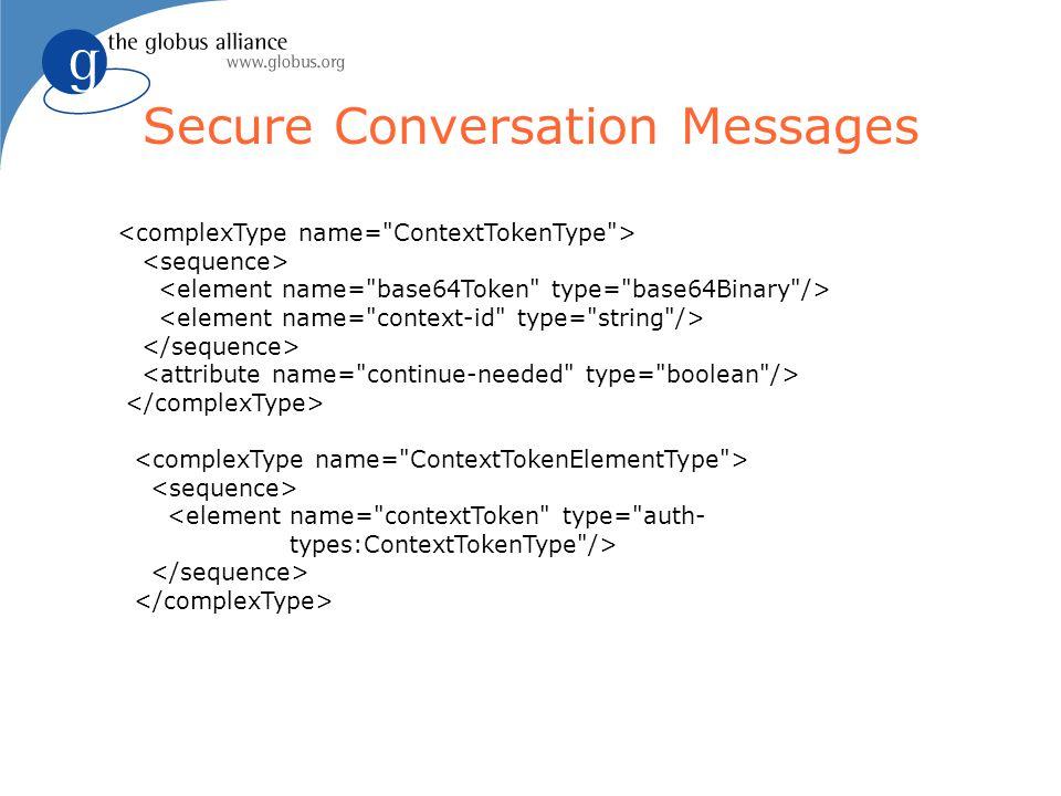 Secure Conversation Messages <element name=