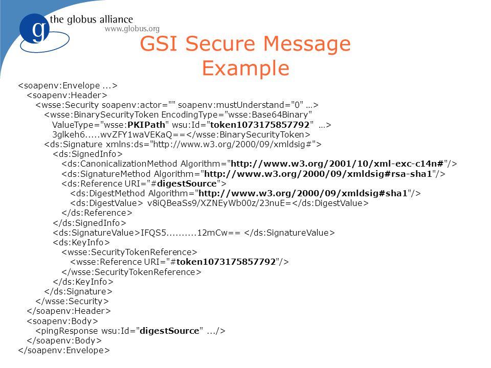 GSI Secure Message Example <wsse:BinarySecurityToken EncodingType=