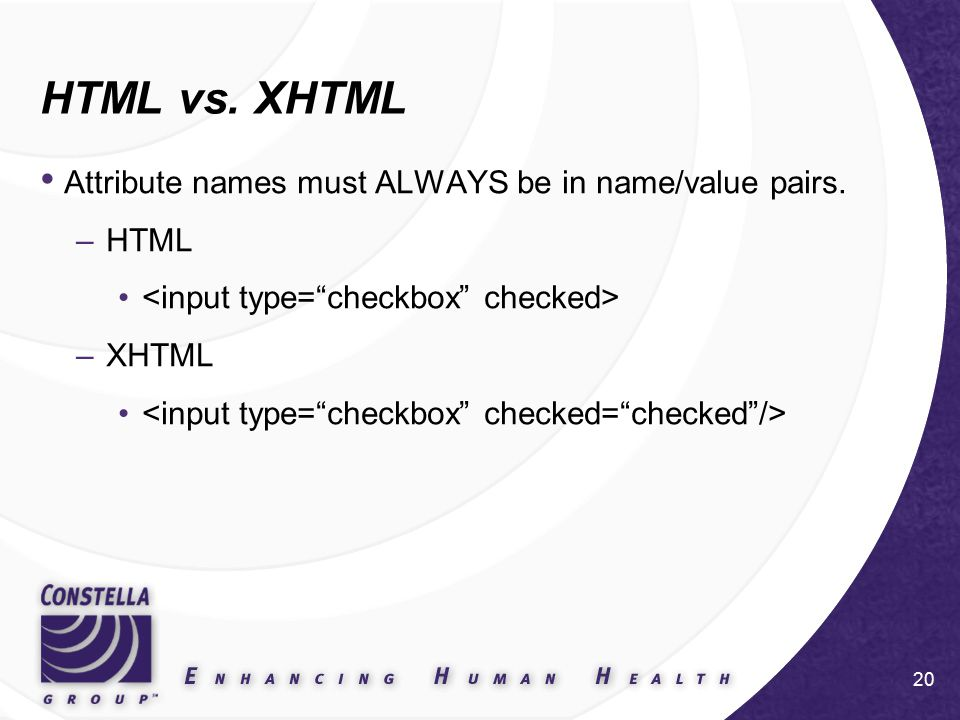 20 HTML vs. XHTML Attribute names must ALWAYS be in name/value pairs. –HTML –XHTML