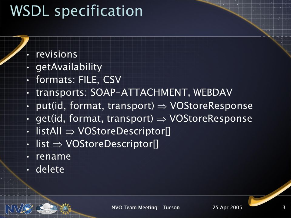 25 Apr 2005NVO Team Meeting - Tucson3 WSDL specification revisions getAvailability formats: FILE, CSV transports: SOAP-ATTACHMENT, WEBDAV put(id, format, transport)  VOStoreResponse get(id, format, transport)  VOStoreResponse listAll  VOStoreDescriptor[] list  VOStoreDescriptor[] rename delete