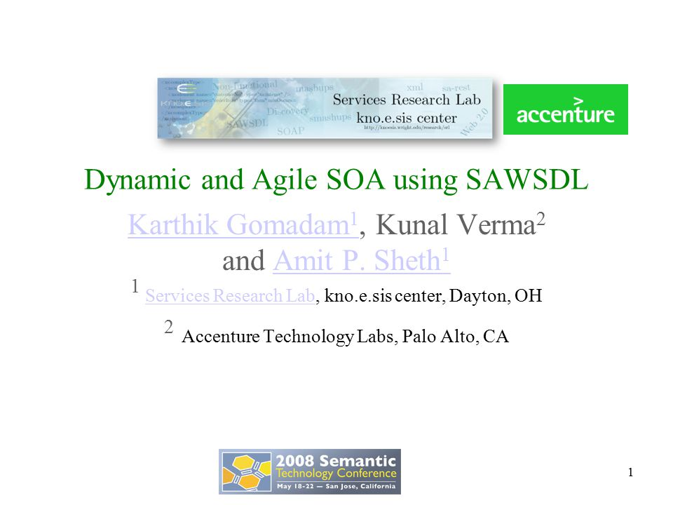 Dynamic and Agile SOA using SAWSDL Karthik Gomadam 1 Karthik Gomadam 1, Kunal Verma 2 and Amit P.