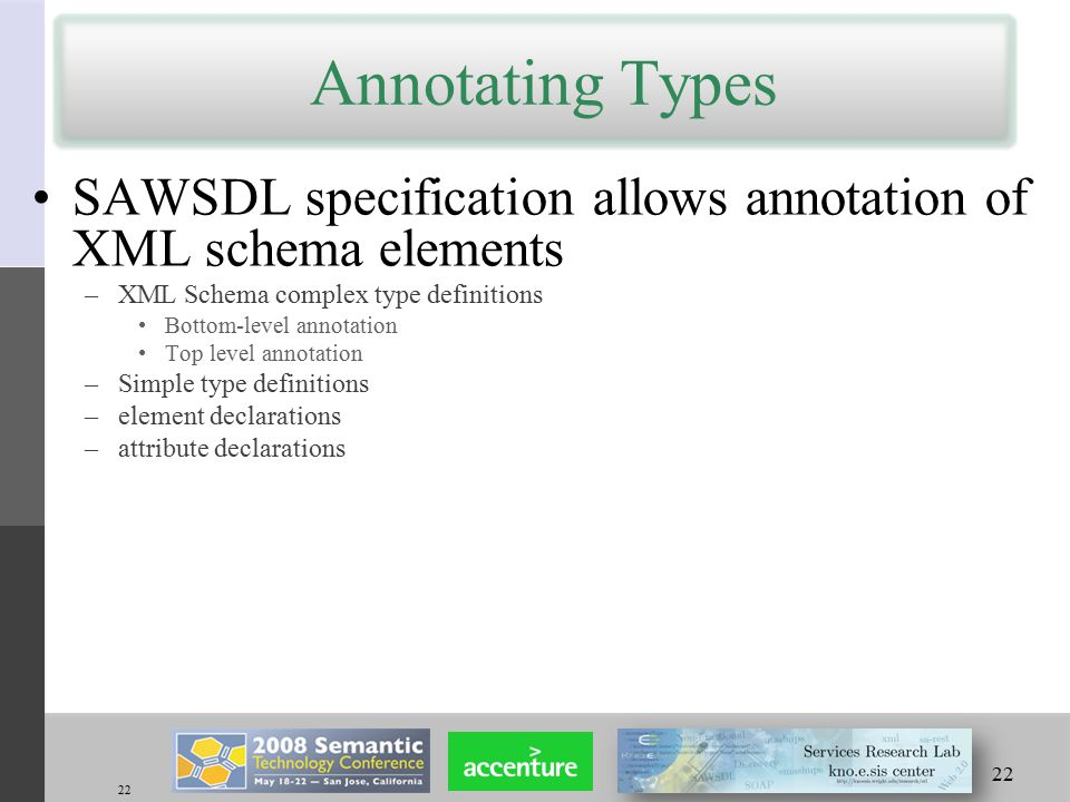 22 Annotating Types SAWSDL specification allows annotation of XML schema elements –XML Schema complex type definitions Bottom-level annotation Top level annotation –Simple type definitions –element declarations –attribute declarations 22