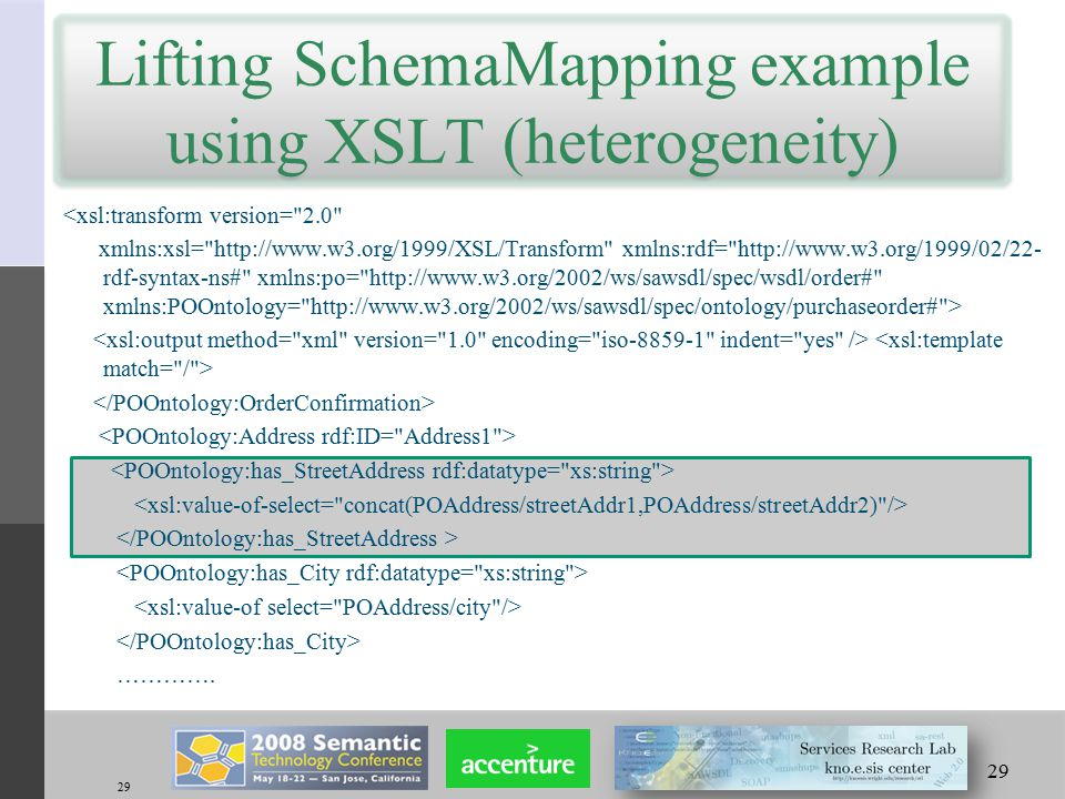 29 Lifting SchemaMapping example using XSLT (heterogeneity) <xsl:transform version= 2.0 xmlns:xsl= http://www.w3.org/1999/XSL/Transform xmlns:rdf= http://www.w3.org/1999/02/22- rdf-syntax-ns# xmlns:po= http://www.w3.org/2002/ws/sawsdl/spec/wsdl/order# xmlns:POOntology= http://www.w3.org/2002/ws/sawsdl/spec/ontology/purchaseorder# > ………….