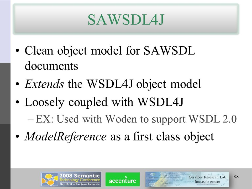 SAWSDL4J Clean object model for SAWSDL documents Extends the WSDL4J object model Loosely coupled with WSDL4J –EX: Used with Woden to support WSDL 2.0 ModelReference as a first class object 38