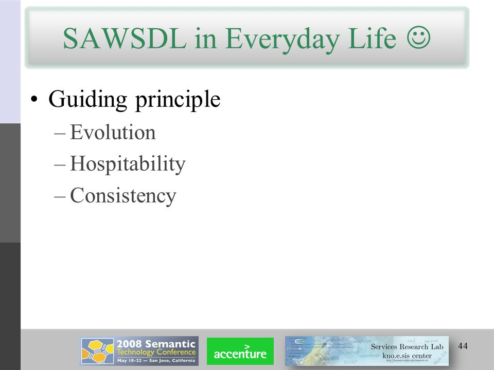 SAWSDL in Everyday Life Guiding principle –Evolution –Hospitability –Consistency 44
