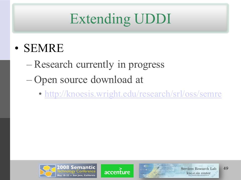 Extending UDDI SEMRE –Research currently in progress –Open source download at http://knoesis.wright.edu/research/srl/oss/semre 49