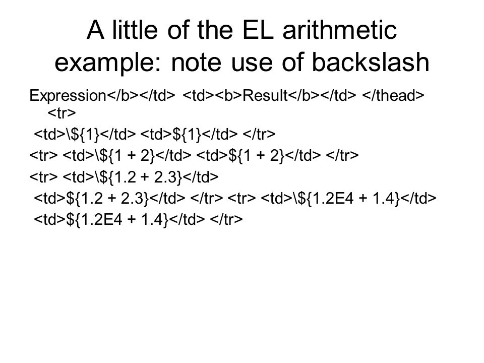 A little of the EL arithmetic example: note use of backslash Expression Result \${1} ${1} \${1 + 2} ${1 + 2} \${1.2 + 2.3} ${1.2 + 2.3} \${1.2E4 + 1.4} ${1.2E4 + 1.4}