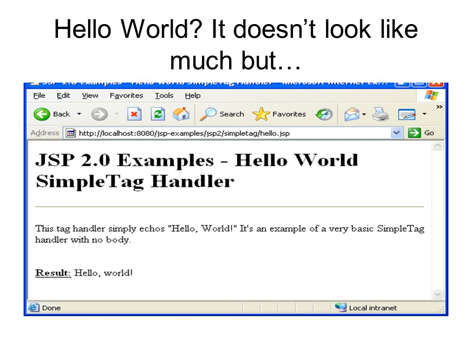 Hello World? It doesn't look like much but…