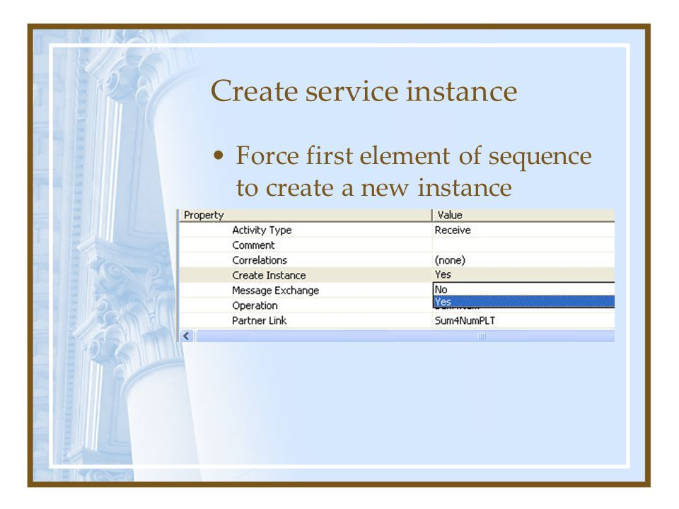 Create service instance Force first element of sequence to create a new instance